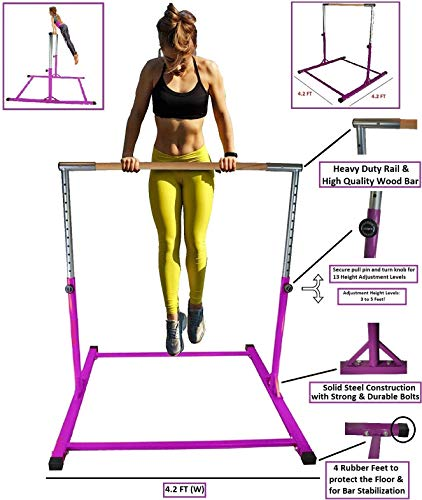 Athletic Bar Gymnastics Kip Bar Horizontal Bar Professional Junior Gymnastic Training High Bar Asymmetric Bar 13 Level Height Adjustable Expandable 3 to 5 FT Indoor Outdoor Use (Purple)
