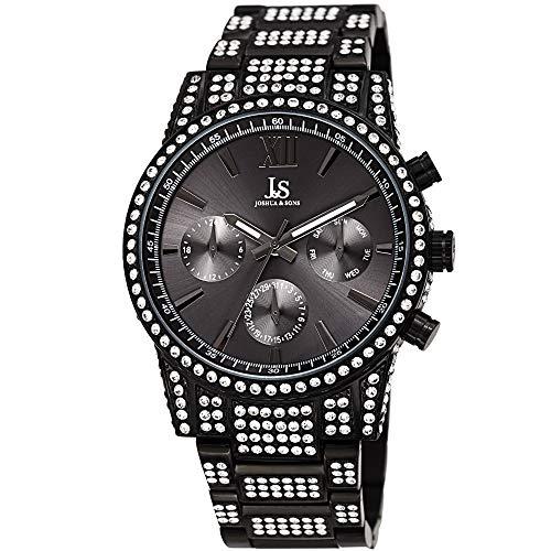 Joshua & Sons JX138 - Reloj de Pulsera para Hombre (Acero Inoxidable con Detalles de Joyas, cronógrafo multifunción, 24 Horas, día, Fecha, Esfera de Rayos de Sol) (Reloj)