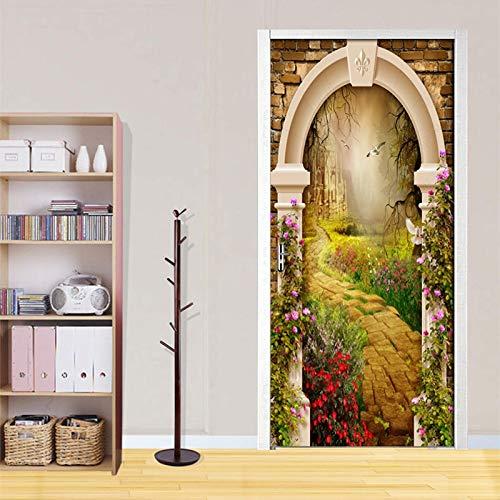 Etiqueta De La Puerta Fantasía Retro Castillo Foto Papel Pvc Impermeable Autoadhesivo Mural Decoración 77 * 200cm: Amazon.es: Bricolaje y herramientas
