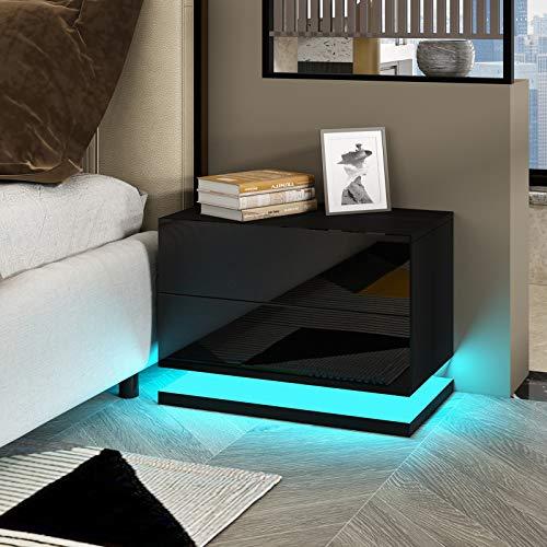 UNDRANDED Moderne Hochglanzfront Nachttisch Kommode mit 2 Schubladen aus Holz Sofa Tisch mit RGB LED Streifen für Schlafzimmer Wohnzimmer Wohnmöbel 50x35x43cm (Schwarz)