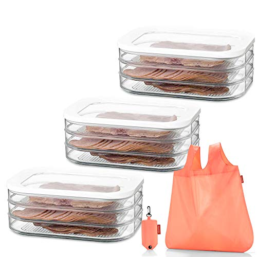 Sparset: 3X Rosti Mepal Kühlschrankdose Modula Aufschnitt 550/3 weiß + GRATIS reisenthel shopper - Vorratsdose Kühlschrankdose Frischhaltedose