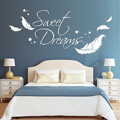 Wandtattoo-Loft Wandaufkleber Schriftzug Sweet Dreams Zitat mit Federn und Sternen / 54 Farben / 3 Größen/weiß / 55 cm hoch x 125 cm breit