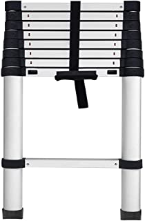 [One Push Closed] Aluminum Telescoping Ladder 8.5 ft, Max Reach 12 ft, 330 lb Max Capacity, Soft-Close System, Pinch-Free Locking for Industrial Household Daily or Emergency Use