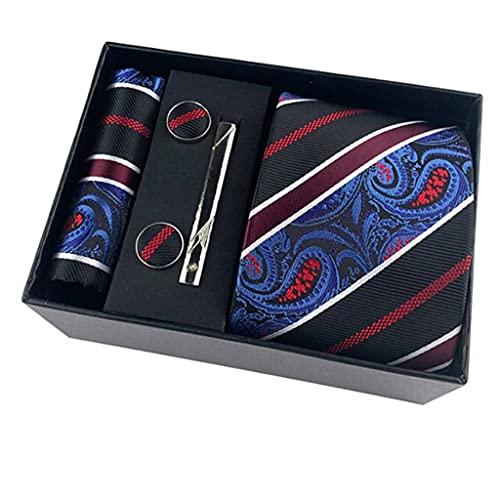 WALNUT Corbatas de Paisley Florales de Ancho clásico Cravate Homme Corbatas de Seda para Hombre para Traje de Hombre Corbata de Boda de Negocios Paquete de Caja de Regalo (Color : C)