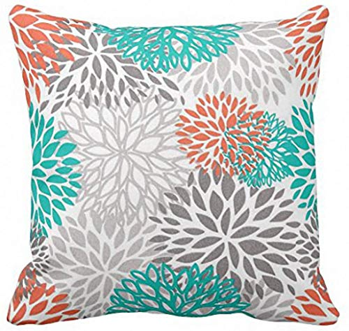 Emvency Throw Pillow Cover Blue Aqua Orange Gray and Floral Anchors Decorative Pillow Case Home Decor Square 18 x 18 Inch Pillowcase