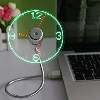 ONXE USB LED Clock Fan with Real Time Display Function,USB Clock Fans,Silver,1 Year Warranty (Renewed)