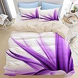 Set di biancheria da letto di qualità premium 3 pezzi, sfondo di fiori viola lilla, set copripiumino moderno con cerniera deluxe con 2 fodere per cuscini Ultimo set di copripiumino trapunta in microfi