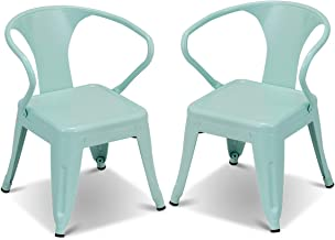 Costzon Set of 2 Kids Steel Chair w/Backrest Industrial Activity Chair, Stackable for Indoor/Outdoor Use, Preschool, Bedroom, Playroom, Steel Chair for Toddlers Boys & Girls (Mint Green, 2 Chairs)