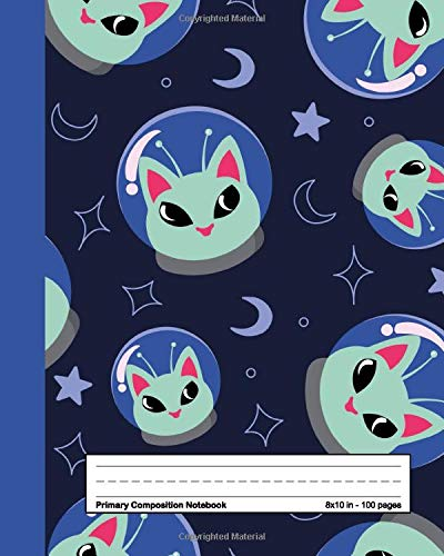 Primary Composition Notebook: Cool Galaxy Handwriting Notebook with Dashed Mid-line and Drawing Space   Grades K-2, 100 Story Pages   Space Alien Cat Pattern for Boys & Girls
