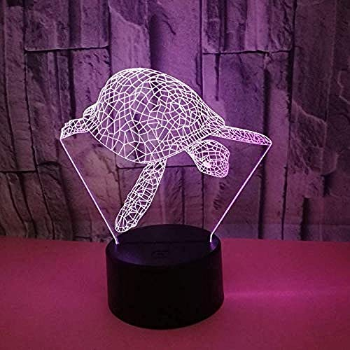 3D Night Light Lamp Turtle Gifts with or Touch Bedside Lamp 7 & 16M Color s Change Switch Lampes de bureau pour enfants cadeau d'anniversaire Best Girl Baby LED Mood Light