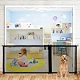 Baby Gate Magic Gate for Dogs, Indoor Outdoor Retractable Large Dog Gate, Extra Wide Folding Mesh Pet Gate with Zipper for Stairs, Doors Portable Adjustable Baby Safety Gate Up to 82.6' Wide