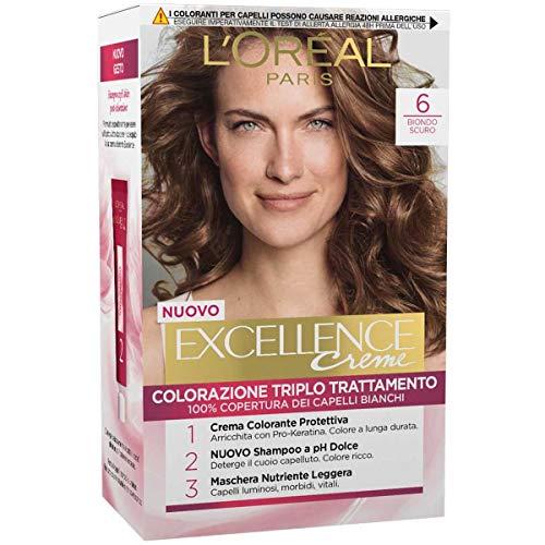 L'Oréal Paris Tinta Capelli Excellence, Copre i Capelli Bianchi, Colore Ricco, Luminoso e a Lunga Durata, 6 Biondo Scuro