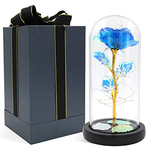 Blingstar Glass Rose, Blue Rose in Glass Dome with Fairy Lights, Artificial Eternal Flower Light Up for Night Bedroom Decor,Gift for Mom Wife Girlfriend Her Christmas Birthday Thanksgiving Anniversary