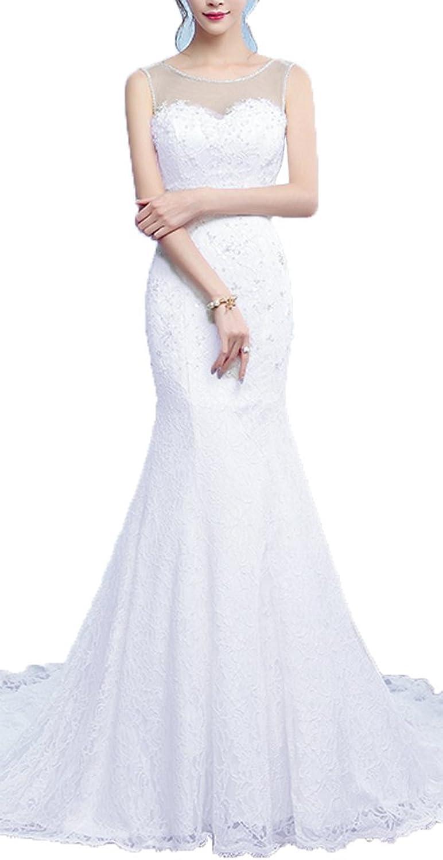 OnlyBridal Women's Tanks Sleeve Lace Up Back Beaded Mermaid Lace Wedding Dresses