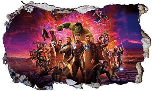 Chicbanners V707Selbstklebendes Poster Marvel Avengers V707, Wandloch-Optik, Maße 1000mm breit x 600mm hoch, Größe L
