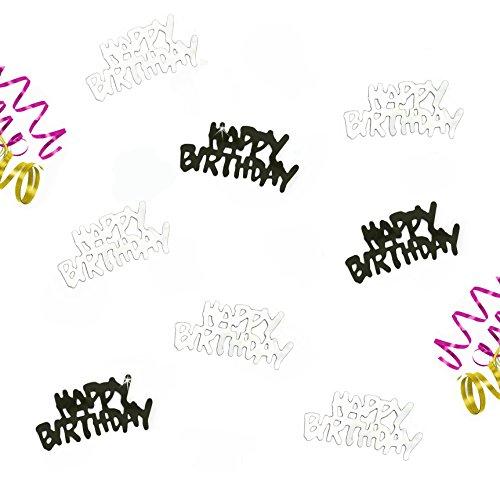 Oblique-Unique® Happy Birthday Schwarz Silber Geburtstag Tisch Konfetti mit Spiegeleffekt - über 150 Stück