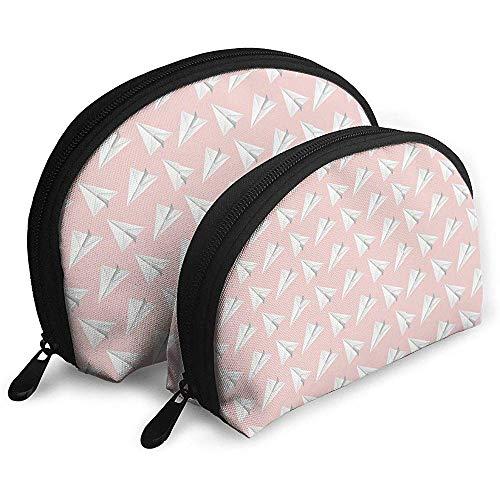 Avion en Papier, Sacs à cosmétiques de Fond Rose Pochette d'emballage de Maquillage en Tissu imperméable à l'eau cosmétique et Sac de Toilette Organisateur Pochette de Toilette Portable