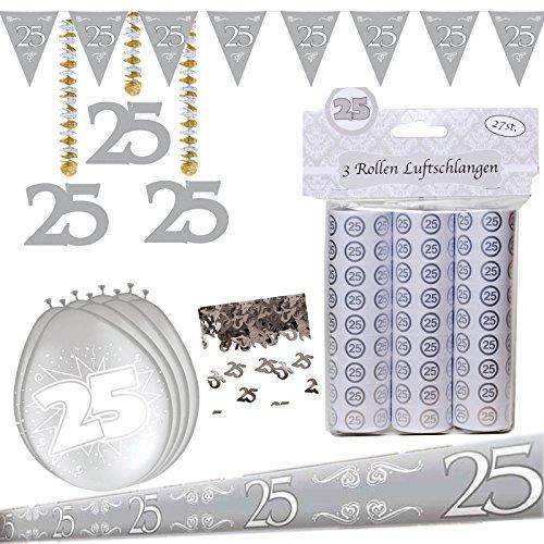 Unbekannt Dekoset Partyset zur Silbernen Hochzeit Silberhochzeit 25. Jubiläum Deko Girlanden Luftballons