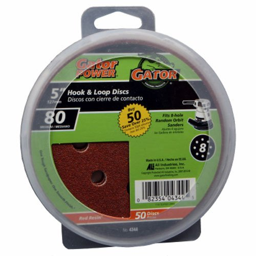 ALI INDUSTRIES 4344 8 Hole Hook and Loop 80 Grit Disc, 5-Inch, 50-Pack, 5'