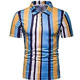 N\P Exclusivamente para el verano de los hombres de manga corta Camisas de los hombres Hit Color Rayas Slim Lapel Leisure T-Shirt