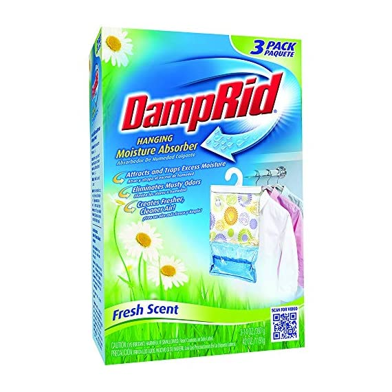 Damp Rid Hanging Moisture Absorber Fresh Scent 3-Bag 14 Ounces each (Pack of 1) 1 fresh flower scent