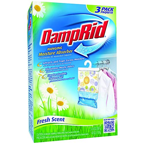 Best Buy! Damp Rid Hanging Moisture Absorber Fresh Scent 3-Bag 14 Ounces each (Pack of 1)