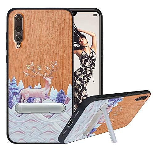 HHDY Funda de Madera para Huawei P20 Pro, Carcasa Kickstand con Soporte de Metal, Case Cover Madera Real+TPU Bumper Caso Funda para Huawei P20 Plus, Deer