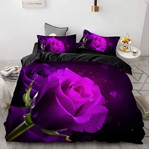 WGLG Double Bed Duvet Sets, 100% Polyester 3D Red Rose Floral Home Textiles 3 Pcs Set Duvet Cover Pillowcase