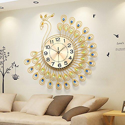 Orologio da parete 21 Pollici or 26 Pollici di Grandi Dimensioni del Pavone d'oro del Quarzo di Disegno Muto (Colore : Oro, Dimensioni : 65 * 65cm)