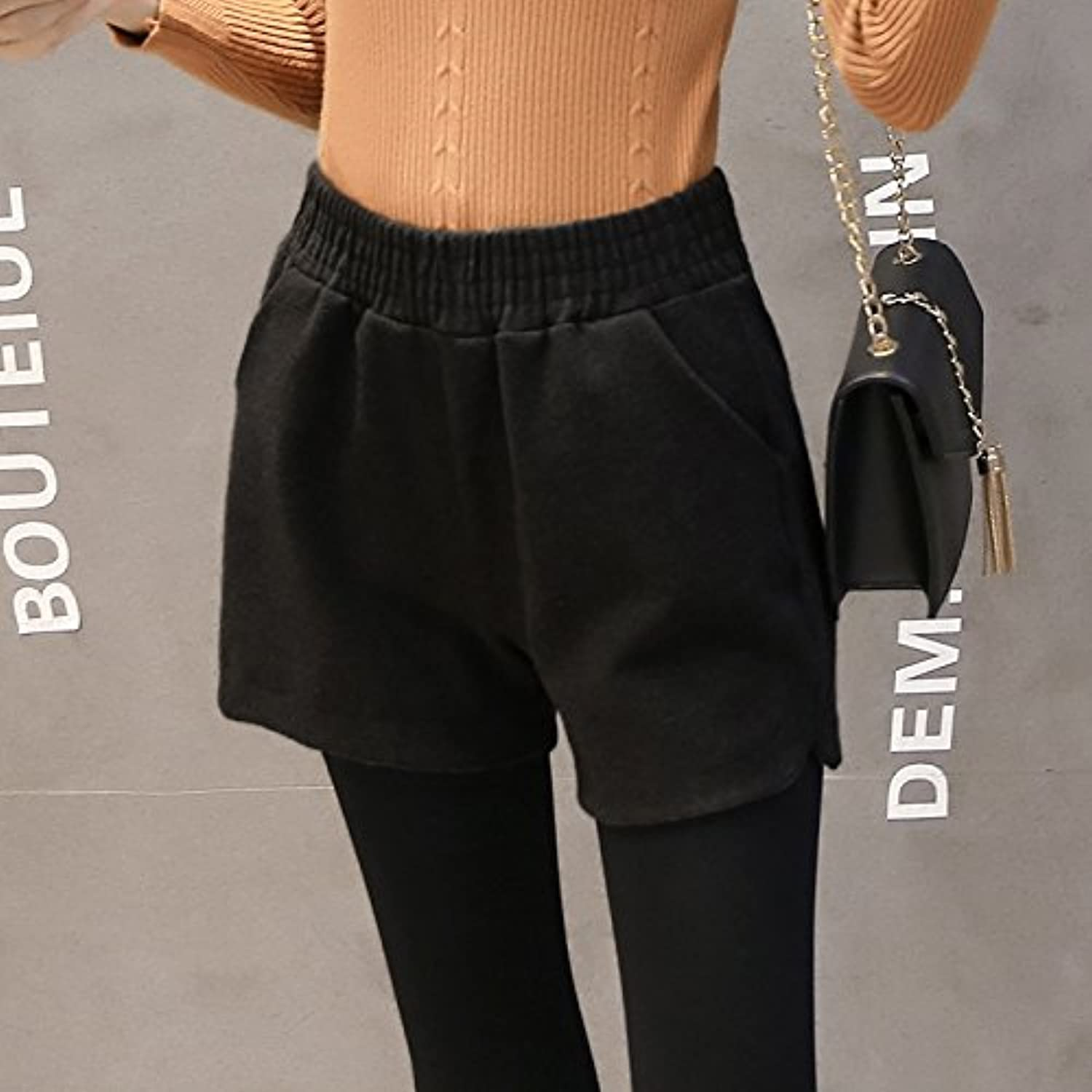 GAOLIM Autumn and Winter Shorts Women Loose High Waist Wide Leg Pants Outside Pants Pants Boots, S, 2319 Black
