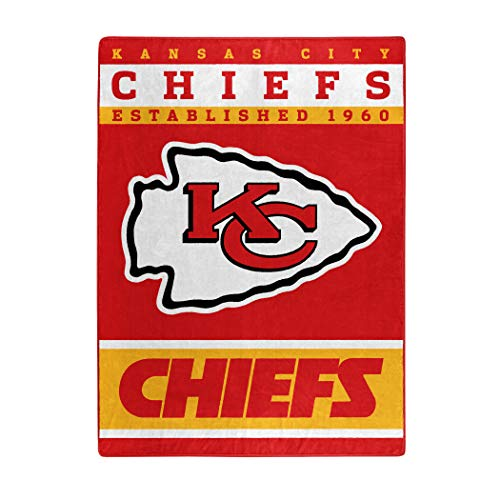 Officially Licensed NFL Kansas City Chiefs '12th Man' Plush Raschel Throw Blanket, 60' x 80', Multi Color