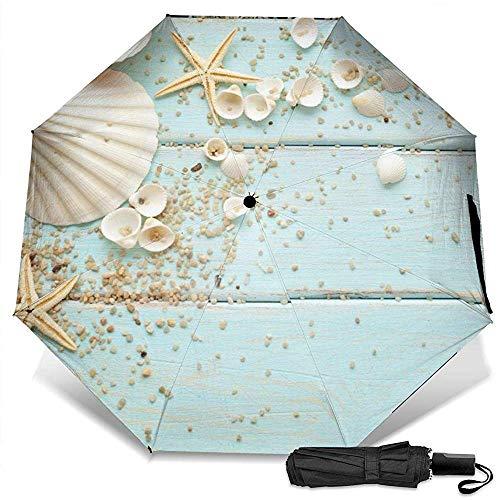 Ocean Marine Holzschale manuell dreifach faltbar kompakt Reiseregenschirm UV-Schutz stark Winddicht