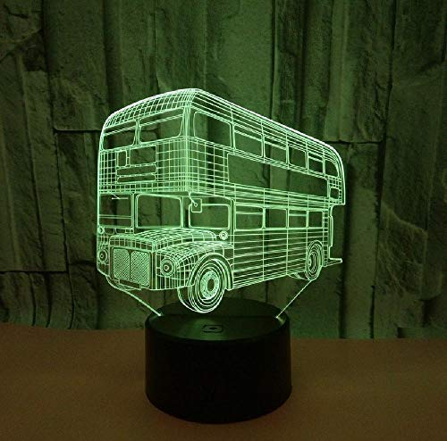 Dubbellaagse bus 3D acryl nachtlicht touch schakelaar kleurrijke visuele stereolamp LED usb-visuele lamp kleur de mobiele app afstandsbediening