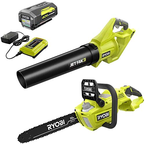 RYOBI RY40530-BLW 14 in. 40-Volt Brushless Lithium-Ion Cordless Chainsaw and Jet Fan Leaf Blower, 4 Ah Battery and Charger Included
