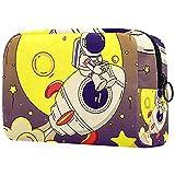 Bolsa de Maquillaje Astronauta de la Luna del Cohete Bolsa Cosmetica Portátil Viaje de Maquillaje Organizador Bolsa de Almacenamiento de Maquillaje 18.5x7.5x13cm