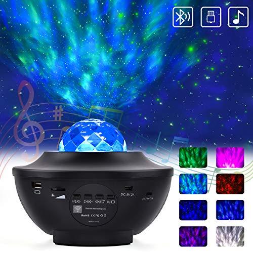 Upgrow LED Sternenhimmel Projektor Baby Nachtlicht, Lampe Farbwechsel Nachtlichter Musik Sternenprojektor mit Fernbedienung Bluetooth Lautsprecher Stimmungslicht Dekorative für Schlafzimmer