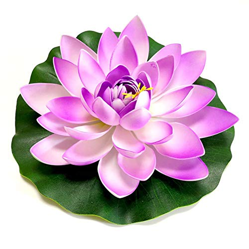 Yw-Flower Water Lelie Kunstvijver Plant, Levensechte Schuim Vijver Plant Lotus, 28Cm / 11Inch, 5 Stuks Set (7 Kleuren)