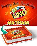Cakecery Uno Cards Edible Cake Image Topper Personalized Birthday Cake Banner 1/4 Sheet