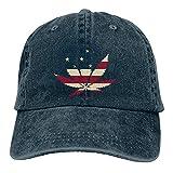 N \ A Marihuana Leaf Denim Gorra de béisbol Sombrero de Sol Personalizado Accesorios de Béisbol Mujeres Hombres Al Aire Libre Ajustable Casqueta Papá Sombrero Azul Marino