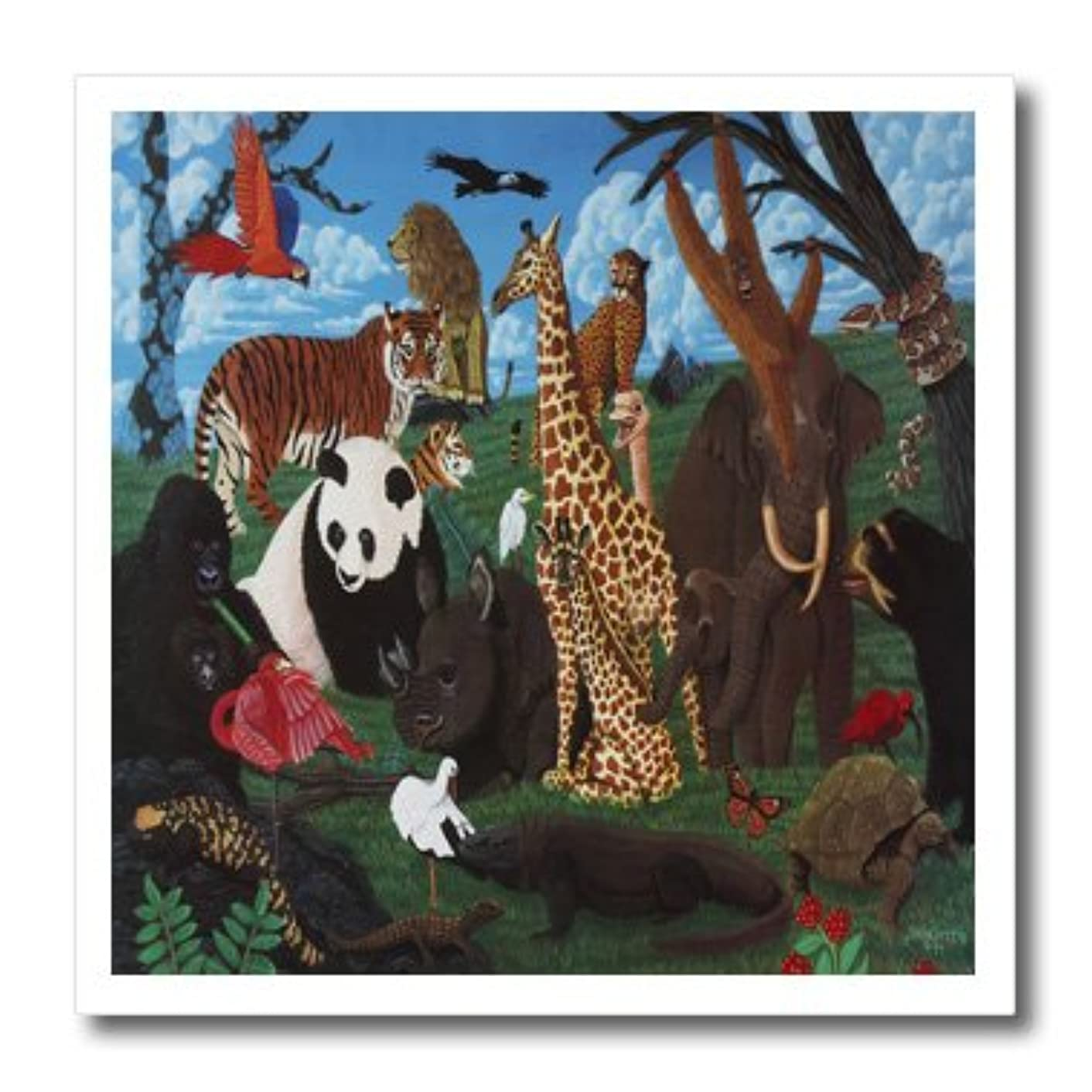 3dRose ht_3214_3 Zoo Animals Iron on Heat Transfer for White Material, 10 by 10-Inch