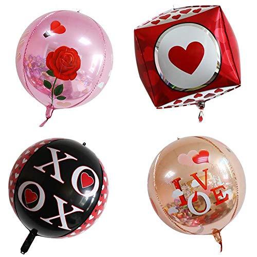 ED-Lumos 4 stks 4D liefde Rose herbruikbare Helium ballonnen voor Valentijnsdag verjaardagsfeestje decoratie cadeau