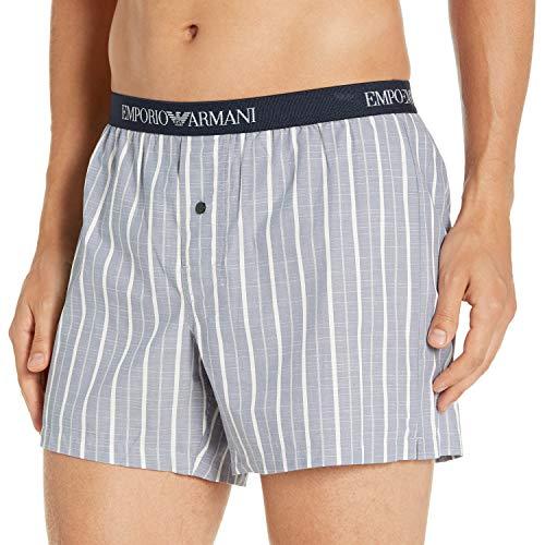 Emporio Armani Underwear Herren Loungewear-Yarn Dyed Woven Boxer Boxershorts, Blau (RIGA BLU/Bianco 19634), Small (Herstellergröße:S)