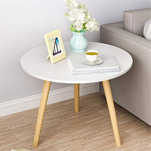 Mesa de café redonda de madera sofá lateral mesa auxiliar pequeño escritorio para sala de estar, dormitorio para sala de estar, hogar y oficina