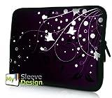 MySleeveDesign Laptoptasche Notebooktasche Sleeve für 10,2 Zoll / 11,6-12,1 Zoll / 13,3 Zoll / 14 Zoll / 15,6 Zoll / 17,3 Zoll - Neopren Schutzhülle mit VERSCH. Designs - White Flowers [15]