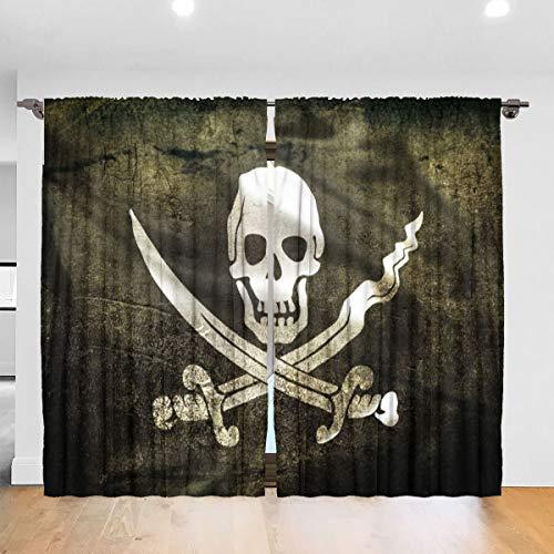 N/A Jolly Roger Piraat Vlag verduistering Pleat Kleurplaten verduistering Pleat Gordijnen Thermische Geïsoleerde Geluiddempende Gordijn Drapes Kamer Verduisterende Ooggordijn Gordijnen