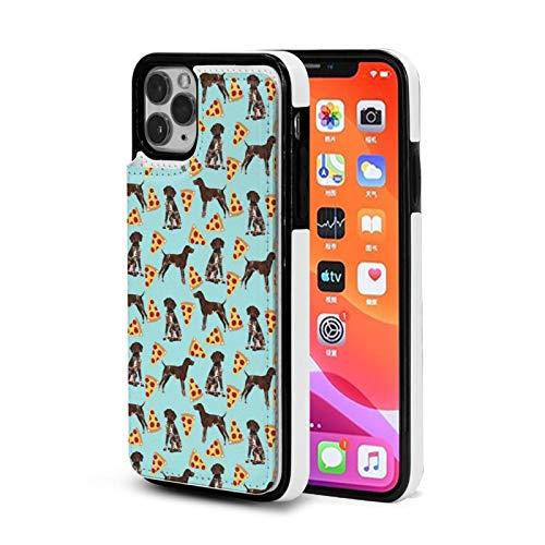 Alemán de pelo corto puntero perro pizza caso para iPhone 11 Pro max con titular de la tarjeta lindo cartera caso para mujeres hombres