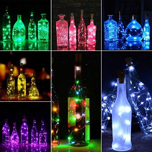 Mallalah Lámpara LED para botella solar Luz LED Guirnaldas Diseño de interiores Multicolores 2 M Luces estrelladas Bricolaje Hogar Jardín al aire libre Terraza Boda y fiesta de Navidad (blanco
