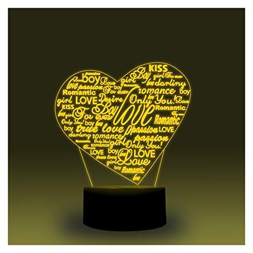 WEIJIAMY Luz de Nocturna Forma de corazón Smart 3D Illusion Lamp Music Sync Night Light Dormitorio Decoración de la Cama Lámpara de Cama Regalo Decora el Dormitorio