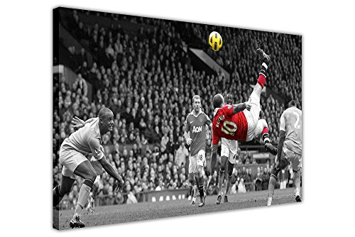 FAMOUS MANCHESTER UNITED WAYNE ROONEY BICYCLE KICK FRAMED PICTURES CANVAS WALL ART PRINTS FOOTBALL POSTER SIZE A4 12 X 8 30CM X 20CM