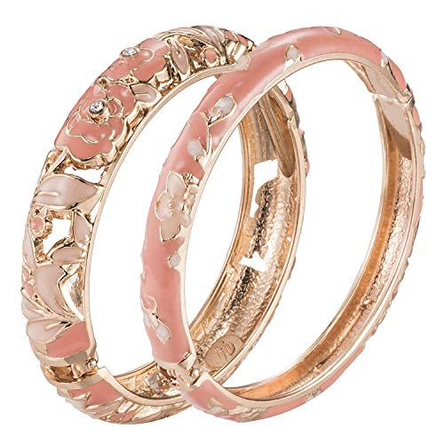 UJOY Vintage Jewelry Cloisonne Handcrafted Enameled Gorgeous Rhinestone Rose Gold Hinged Cuff Bracelet Bangles Gifts 88A10 Diameter: 2.4'' A10-Rose (2 Pcs Set)-Pink